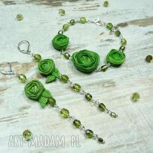 zamówienie indywidualne dla pani agnieszki:) komplet biżuterii zielone kwiaty