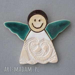 magnesy aniołek-magnes ceramika, minimalizm, chrzest, komunia, stróż, prezent