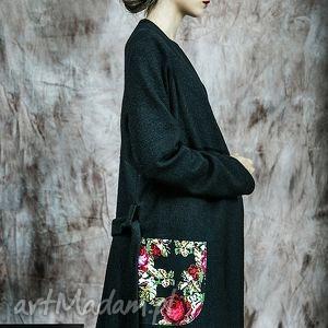długi sweter/płaszczyk z kieszeniami, sweter, rustic, romantic, wełna
