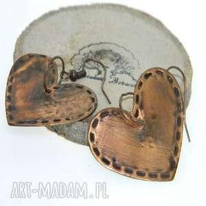 kolczyki miedziane serca-k48, kolczyki, metaloplastyka, miedziana