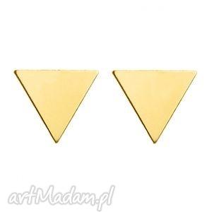 złote kolczyki pełne trójkąty sotho, minimalistyczne