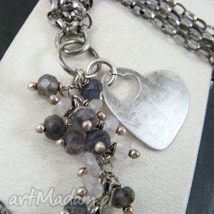 onyksela z sercem , iolit, kamień, księżycowy, serce biżuteria, oryginalny prezent