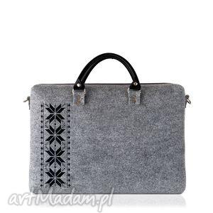 torba filcowa romby czarne, haft, torba, romby, laptop