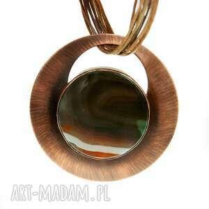 naszyjnik z miedzi kolorowym agatem c820, miedziany naszyjnik, biżuteria