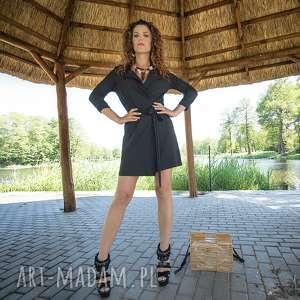sukienki gabriela midi - żakietowa sukienka mini, jersey, żakietowa