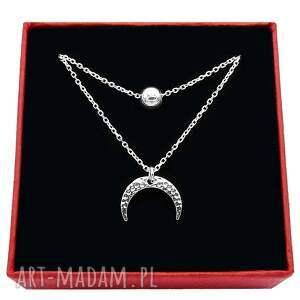 naszyjniki srebrny podwójny naszyjnik z kulką i księżycem, podwójny