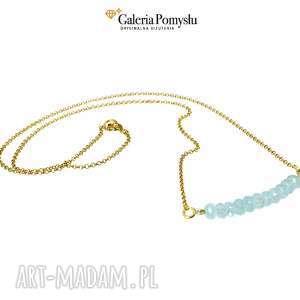 Naszyjnik z kwarcem błękitnym, delikatny, naszyjnik, srebro, 925, złocone, kwarc