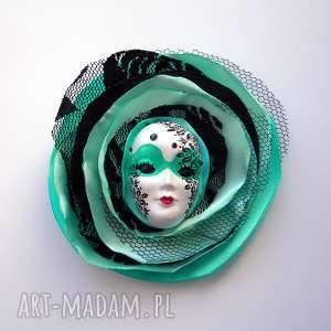 broszki broszka z kolekcji masquerade - miętowa królowa, broszka, maska, kwiat