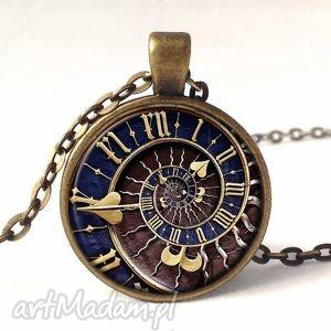 steampunk - medalion z łańcuszkiem - naszyjnik, prezent, spirala