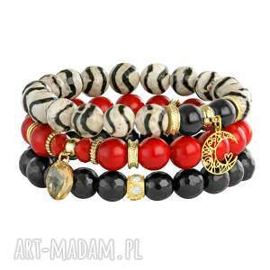 lavoga aurora red, black beige, agat, jadeit, swarovski, księżyc