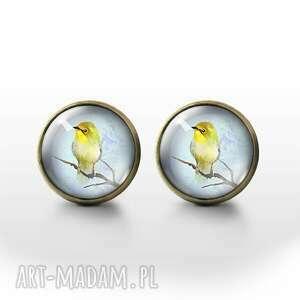 kolczyki sztyfty - żółty ptaszek brąz, kolczyki, sztyfty, ptak, szklane