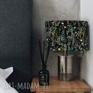 abażur, klosz czarny na lampę kwiaty, klosz