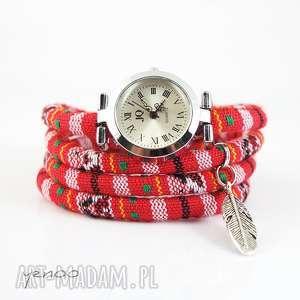 zegarek, bransoletka - czerwony, boho piórko, bransoletka, rzemienie