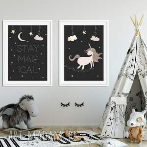 dwa plakaty a3 jednorożec, unicorn, magia, noc, chmurki, gwiazdy