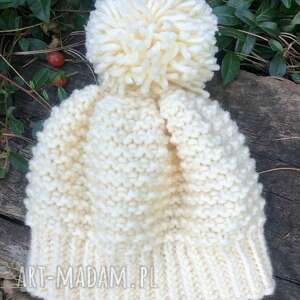 czapka z pomponem, czapka, pomponem, dziecko, na drutach, rękodzieło
