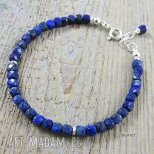 sześciany lapis lazuli -delikatna bransoletka, lazuli, srebro