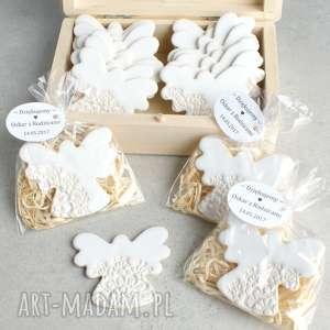 Aniołki w podziękowaniu, podziękowania, ślub, aniołek, magnes, koronka, wesele