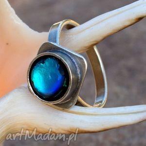 Blue -pierścionek srebrny a422, pierścionek, srebrny, niebieski, szkłodichroiczne