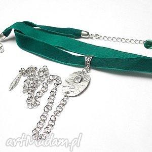 Choker -emerald /smycz/ - naszyjnik, choker, aksamitka, metal