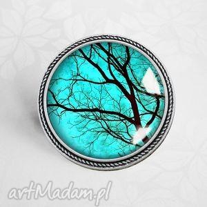 broszka tajemnicze drzewa - pin, przypinka, drzewo, turkusowy, broszka, autorska