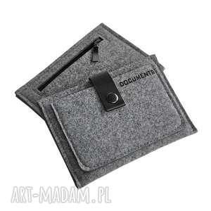 hand-made portfele portfel filcowy ze skórzanym zamykaniem - szary męski