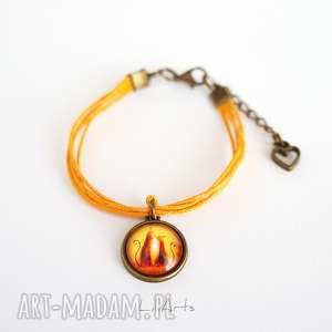 bransoletka - kotki pomarańczowa, antyczny brąz, sznureczki