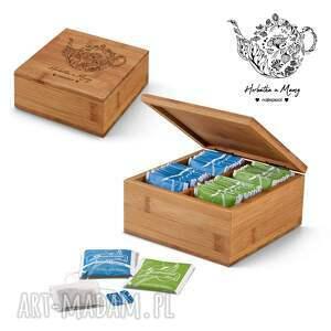pudełka bambusowe pudełko na herbatę - herbatka u mamy, dla dzień mamy