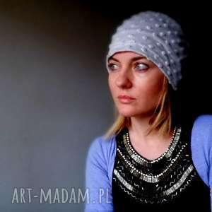 hand-made czapki miła szara damska czapka dresowa punto
