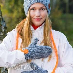 rękawiczki szary z nutą pomarańczy, wełniane
