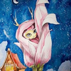 pokoik dziecka nocne życie akwarela artystki adriany laube - bajka, obraz