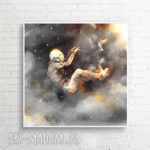 obrazy obraz na płótnie ucz mnie latać 100x100 cm, obraz, wnętrze, salon, kosmos