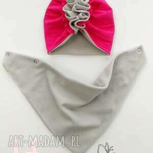 czapeczka turban polarowy z chustą nr 14 - bawełna chusta, zima
