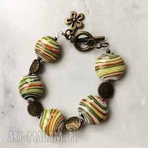 bransoletka z porcelanowych korali w102, porcelana, kolorowa
