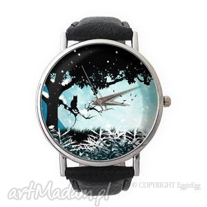 magiczny świat - skórzany zegarek z dużą tarczą