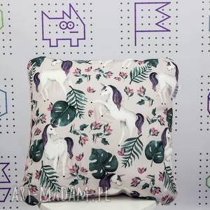 poduszka jendorożec 46x46, jednorożec, dekoracyjna, jasiek, wystrój, liście