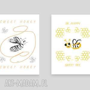pokoik dziecka 2 plakaty z pszczołami, zestaw plakatów psczółkami, pszczółki