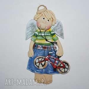 choć popedałować - anioł z masy solnej, rower, dekoracja, prezent, masa