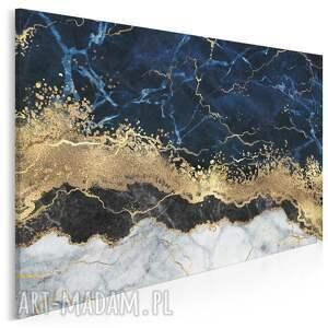 obraz na płótnie - marmur granatowy złoty 120x80 cm (99501)