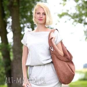 Jasno brązowa torba worek z zamszu ekologicznego torebki bags