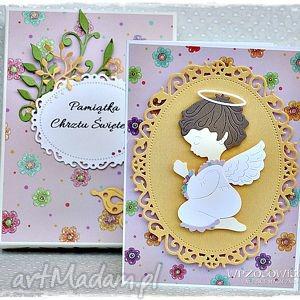 pełna radości kartka na chrzest - kartka, pudełeko, prezent, aniołek