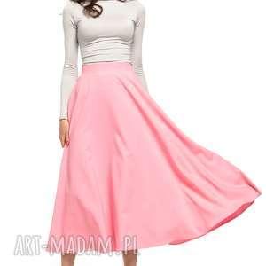 Spódnica midi, T260, różowy, spódnica, zamek, ozdobny,