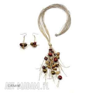 podróż po kolorach komplet biżuterii, sznurki, prezent, len, jesień, drewno