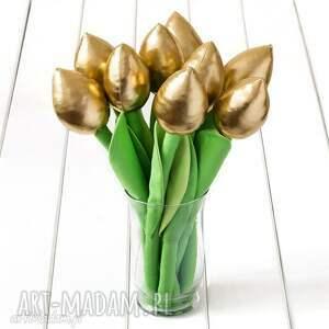 dekoracje tulipany złoty bawełniany bukiet, tulipany, kwiaty, prezent, urodziny