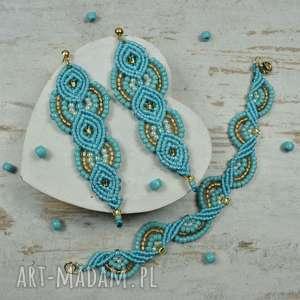 turkusowo złoty komplet biżuterii długie kolczyki i bransoletka