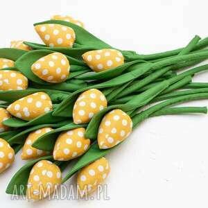 dom tulipany z materiału bukiet tulipanów żółte 9 szt, tulipany