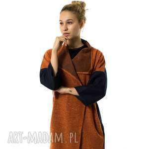 narzutka wełniana kardigan soprabito arancione, wełniana, wielofunkcyjna, jesienna