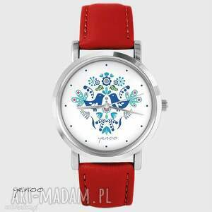 zegarek - ptaszki folkowe, niebieskie czerwony, skórzany, zegarek, bransoletka