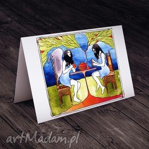 hand-made kartki podwieczorek z aniołem - Kartka