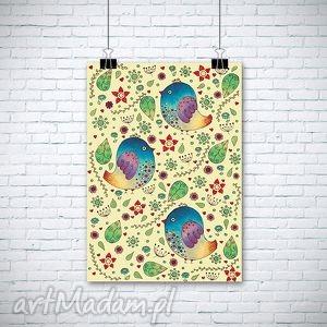 ptaszki w kwiatach - ilustracja, ptaki, ptaszek, kwiaty, obrazek