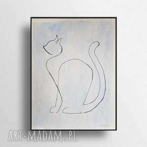 kot-minimalizm-akwarela formatu 24/32 cm, akwarela, kot, minimalizm